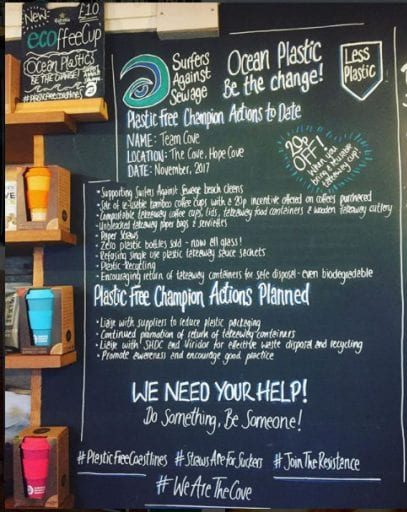 Board in the main bar highlighting our Plastic Free Champion Actions